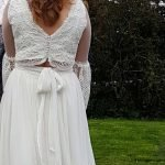 Intricately Beaded and lace boho wedding top matched with silk chiffon wrap skirt
