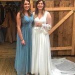 Bespoke Bridal Separates, chapel length silk chiffon train and altered bridesmaid dress