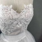 Bridal Separates Collection, Dusty Pink Bustier with White Applique Lace