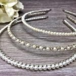 Bridal Hair Band Finished with Crystal Rhinestones and White/Ivory Pearls