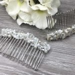 Hand Beaded Bridal Head Comb With Sequins and Pearls