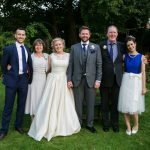 Bride with family, Bridesmaid wearing two piece made to measure outfit