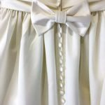 Handmade Duchess Satin Fake Bow and Concealed Buttons detail