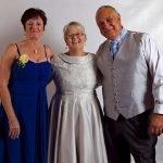 Boat Neckline Silver Lace Wedding Dress Mature Bride