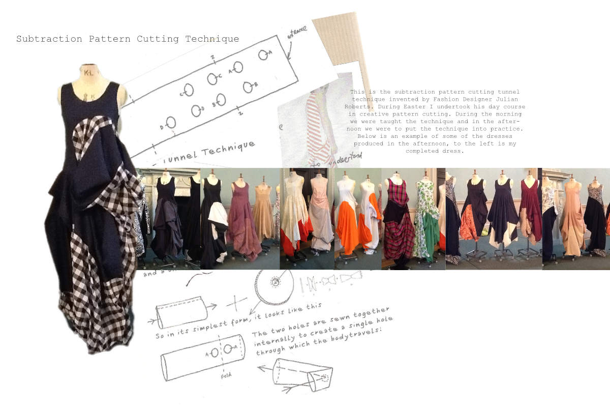 Subtraction Pattern Cutting Tunnel Techniqe used to design dresses and clothing