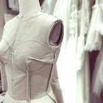 Using Calico Fabric On The Mannequin To Help Create Patterns